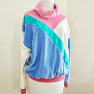 Vintage Color Block Velour Sweater